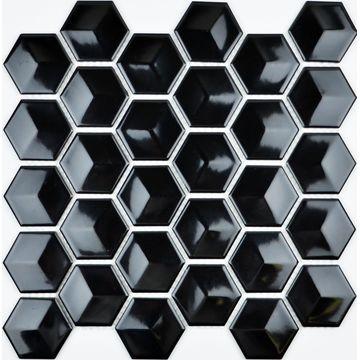 Porcelain Mosaic 51x51 Gloss Black Cube Sht