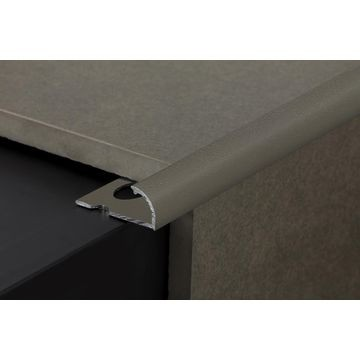12mm Aluminium Quadrant Edge Trim Brown Lgth