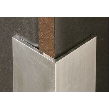 Corner Protector 50x50x2mm. Retro-fit with glue stop. Natural Anodized finish.