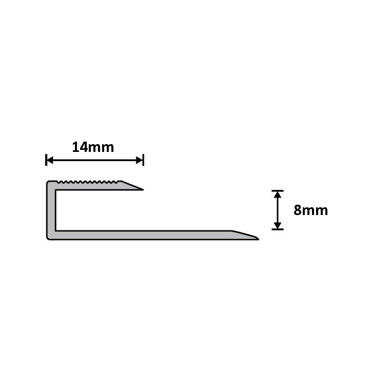 Dural 8mm Alum Adapt Profile Silver 2.7m