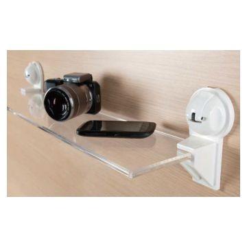 Suction Acrylic Shelf 600x130x10mm White Ea