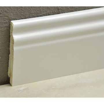 Pedross 95mm Classic Wood Veneered Skirting White Covered Lgth
